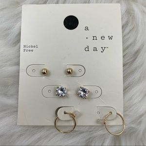 4/$20 A New Day 3 Pairs of Gold Tone Earrings